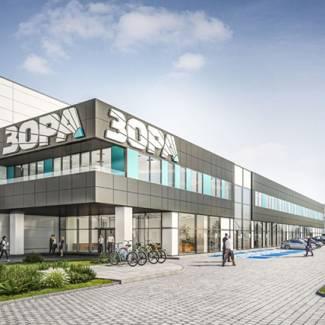 """Склад и офис сграда на търговска верига за бяла и черна техника """"Зора"""", етап 1"""